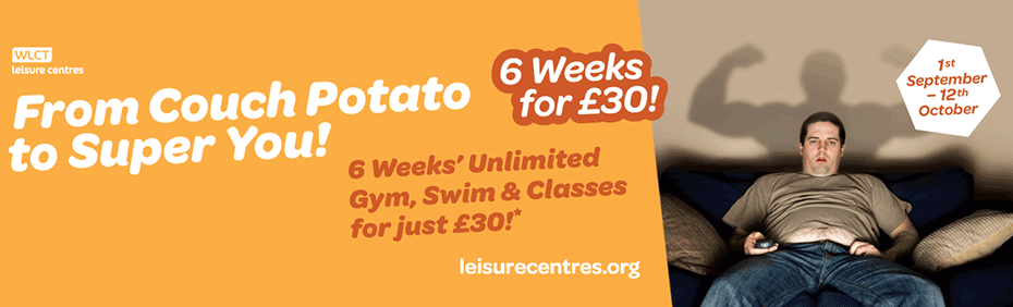 Couch potato to super you. Unlimited swim, gym and classes until October 12 for £30.