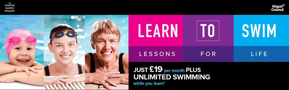 Use the pool free when you learn to swim with Inspiring healthy lifestyles